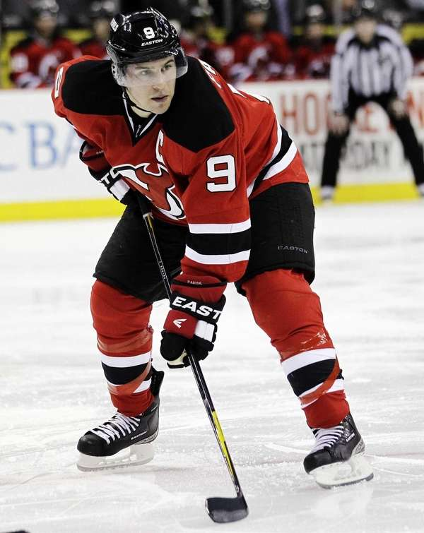 New Jersey Devils' Zach Parise waits for action