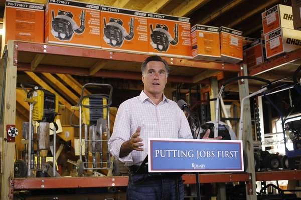 Republican presidential candidate Mitt Romney speaks about job