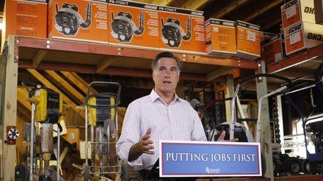 Republican presidential candidate Mitt Romney speaks about job