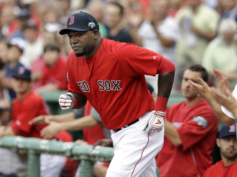 David Ortiz runs out of the dugout as