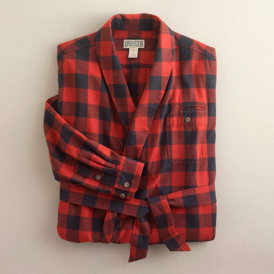 Comfortably relax this winter in this flannel robe.