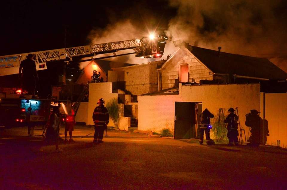 About 150 firefighters from eight different fire departments