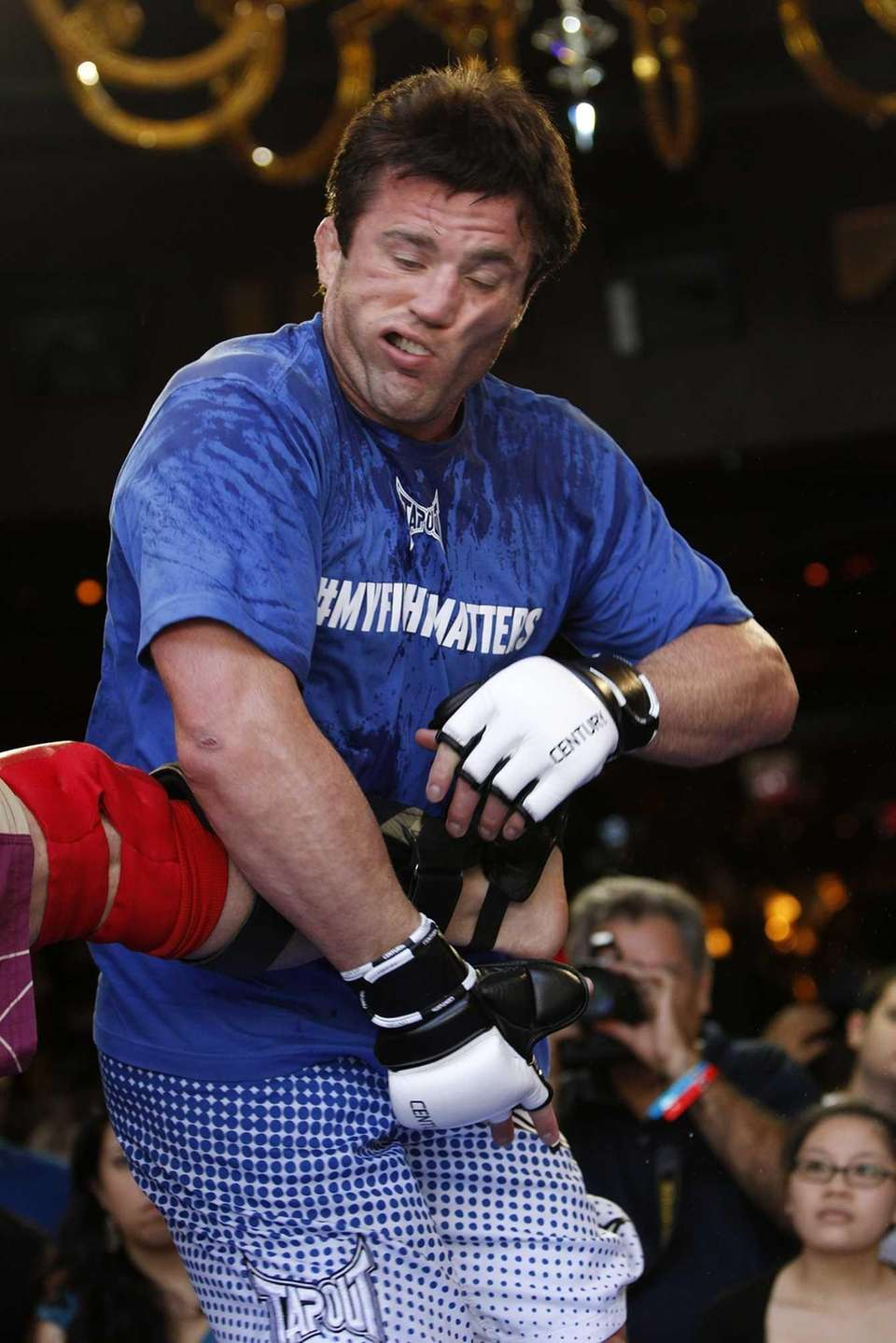 Chael Sonnen works out during an open workout