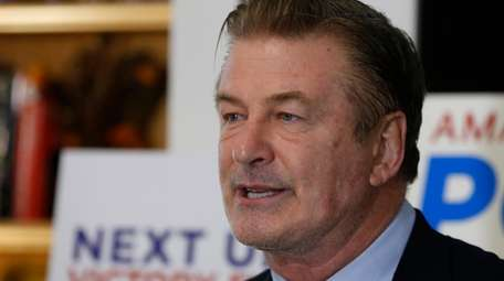 Alec Baldwin speaks to supporters of Amanda Pohl,