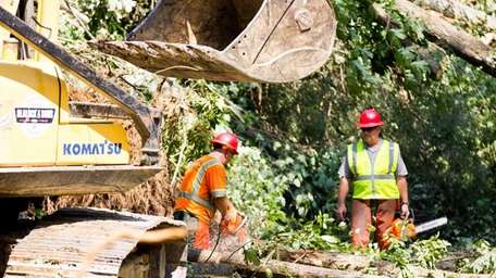 Workers clear storm damage from Great Smoky Mountains