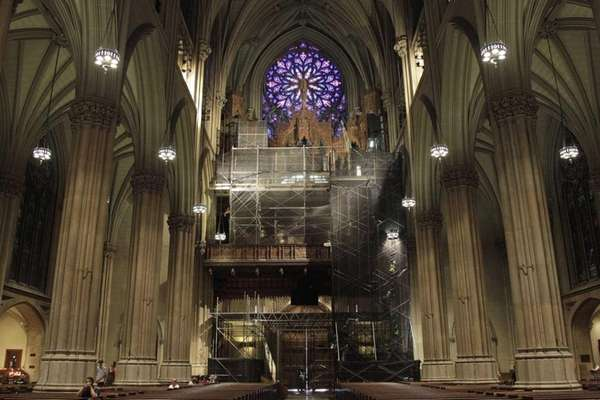 This photo shows scaffolding surrounding the choir loft