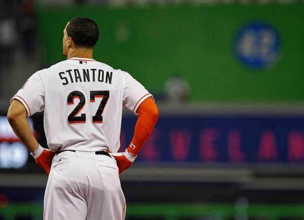 Giancarlo Stanton #27 of the Miami Marlins reacts