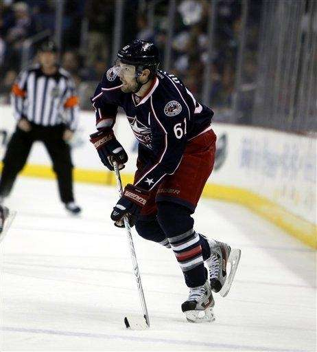 Columbus's Rick Nash during an NHL game against