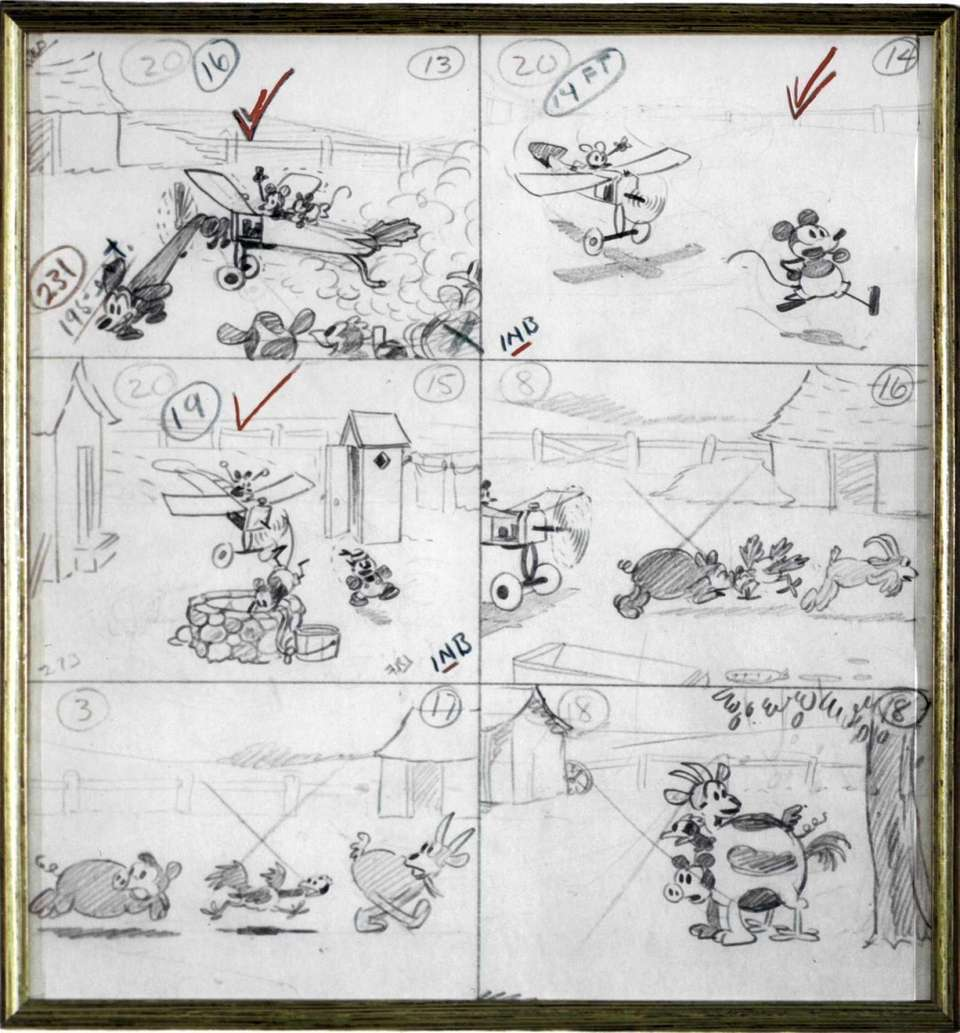 A series of sketches from a 36-panel storyboard