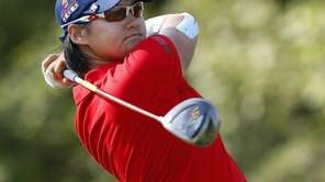 Yani Tseng watches her tee shot on the