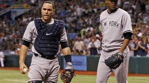 New York Yankees catcher Russell Martin, left, and