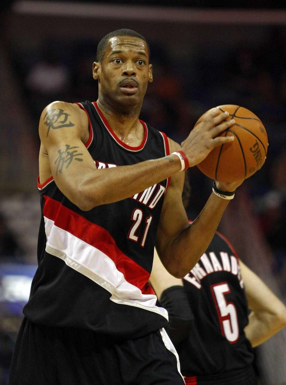 Portland Trail Blazers forward Marcus Camby looks to