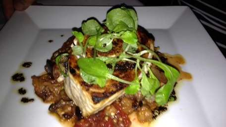 Grilled swordfish with caponata at Osteria Salina in