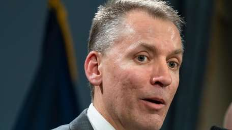 NYPD Commissioner-designate Dermot Shea speaks Monday at a