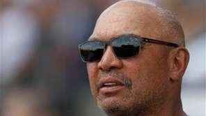 New York Yankees Hall-of-Famer Reggie Jackson watches a
