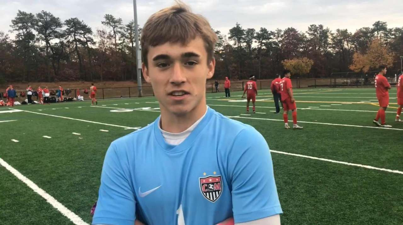 Center Moriches junior goalie Colin Raupp discusses the