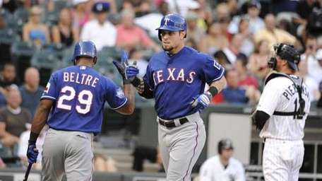 Adrian Beltre #29 of the Texas Rangers greets
