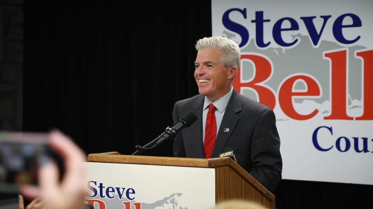 Suffolk County Executive Steve Bellone spoke to supporters