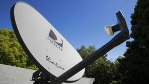 A DirecTV satellite dish is attached to a