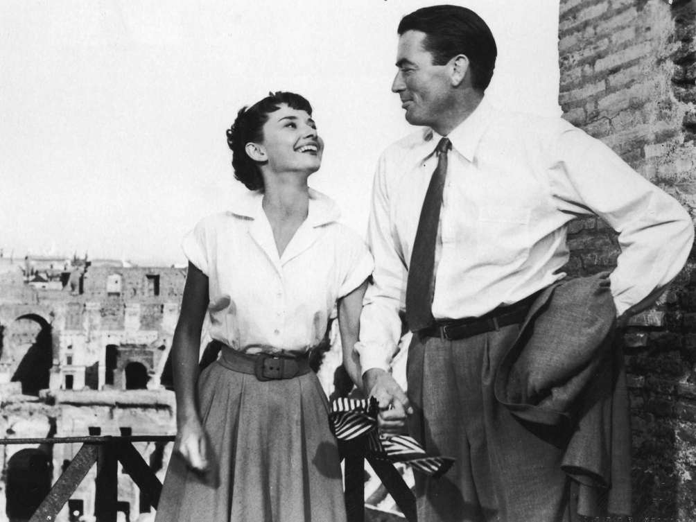 Audrey Hepburn and Gregory Peck, in a still