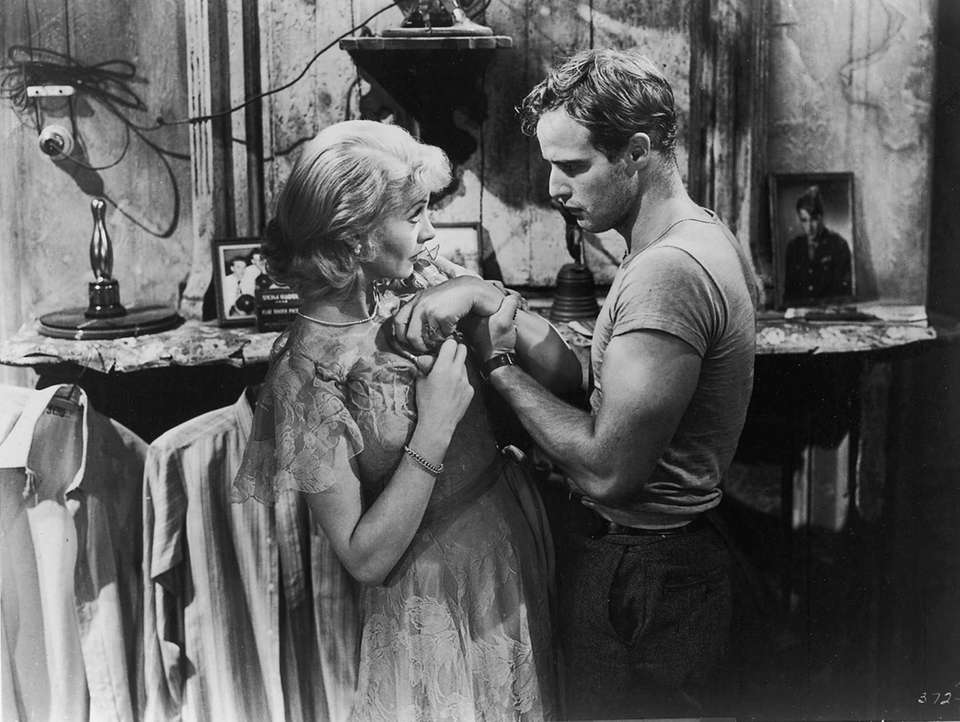 Vivien Leigh and Marlon Brando, in a scene