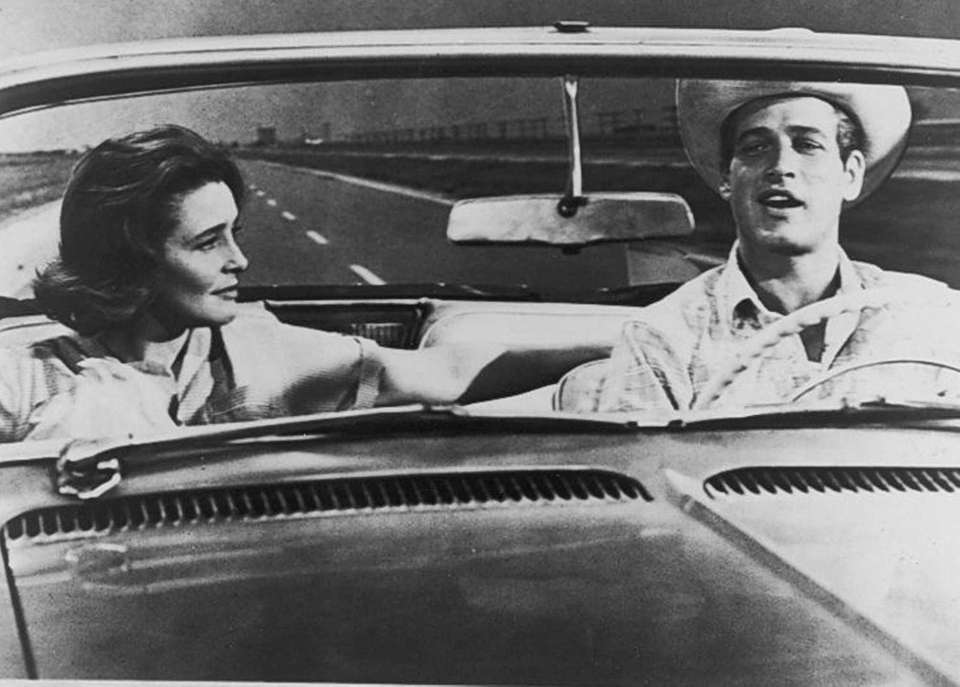 Patricia Neal and Paul Newman, in a scene