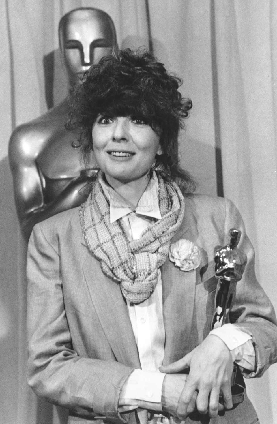 Actor Diane Keaton, posing with her Oscar statuette