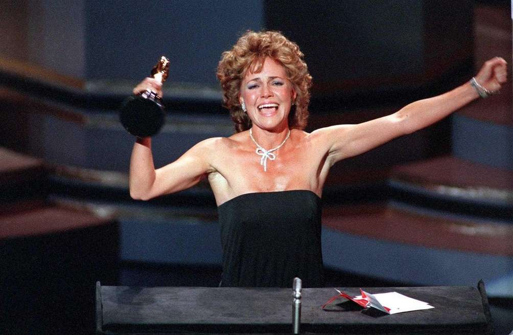 Actor Sally Field, accepting her Oscar statuette during