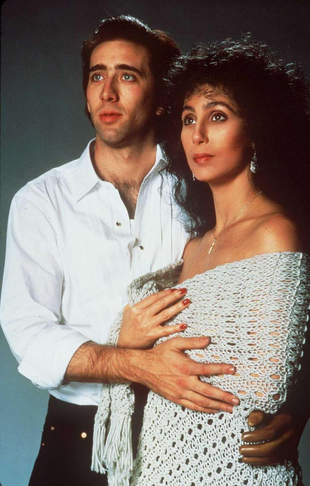 Nicolas Cage and Cher, in a scene from
