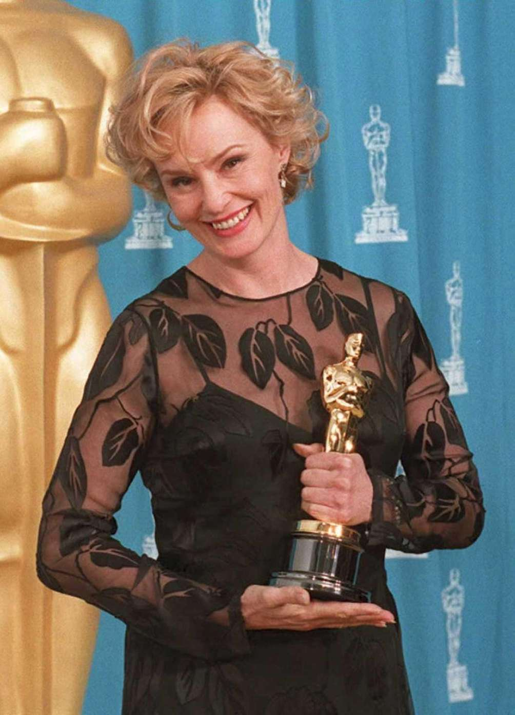 Actor Jessica Lange, holding the Oscar statuette she