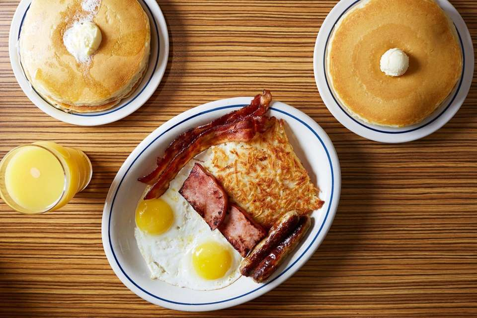 The Breakfast Sampler with two buttermilk pancakes, two
