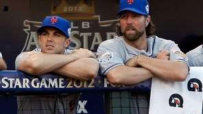 National League All-Stars David Wright and R.A. Dickey