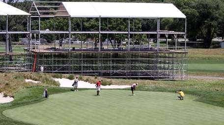 Scaffolding is erected on Bethpage State Park's Black