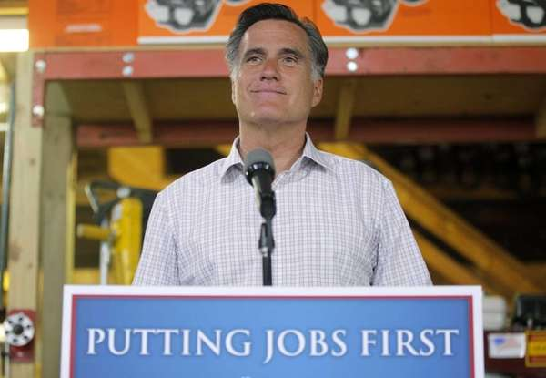 Mitt Romney speaks about job numbers at Bradley's