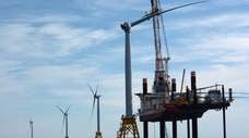 A wind farm owned by Orsted and Deepwater