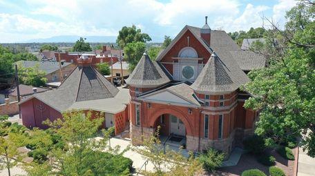 An aerial view of Temple Emanuel in Pueblo,
