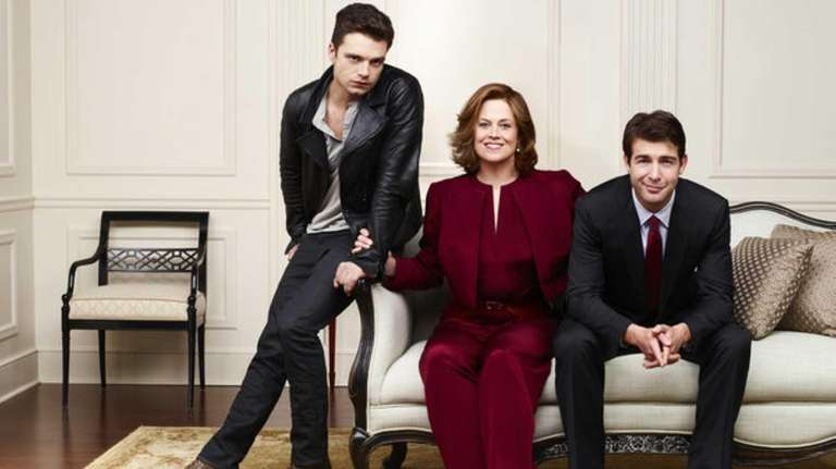 Sebastian Stan as TJ Hammond, left, Sigourney Weaver