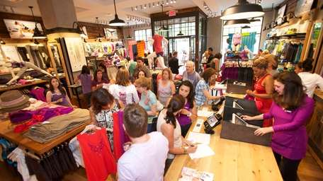 It was a mob scene at Athleta, the