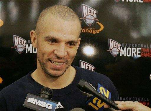 New Jersey Nets' guard Jason Kidd speaks to