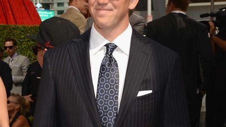 New York Giants quarterback Eli Manning arrives at