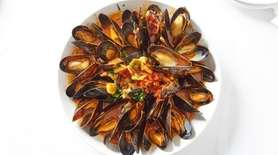 Cozze Posillipo are steamed mussels in a saffron-tomato