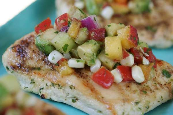 Try topping grilled, boneless chicken breasts with diced