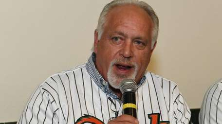 Long Island Ducks manager Wally Backman speaks to
