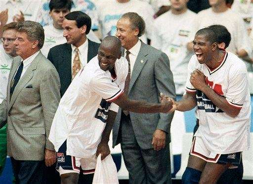 USA's Earvin quot;Magicquot; Johnson, right, and Michael Jordan