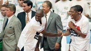 "USA's Earvin ""Magic"" Johnson, right, and Michael Jordan"