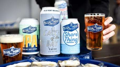 Beer selection and oysters at Blue Point Brewing