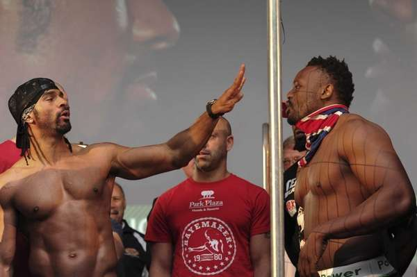 British boxer David Haye (L) gestures to fellow