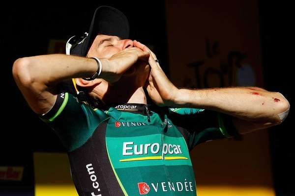 Pierre Rolland of France riding for Europcar celebrates
