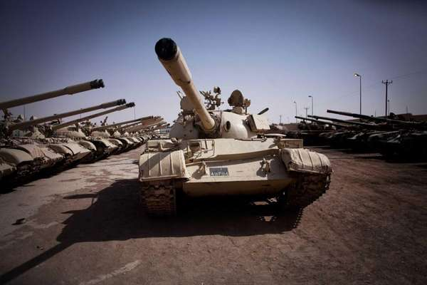 A tank abandoned by pro-Gadhafi forces on the