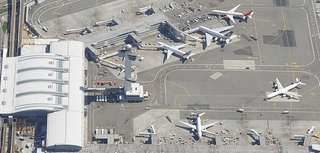 Aerial view of International Arrivals Terminal 4 at